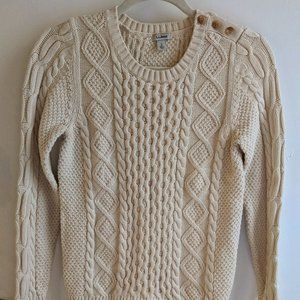 L.L. Bean Off-White Cotton Fisherman Sweater, S